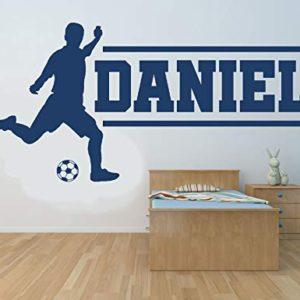 Nome personalizzato calciatore Autoadesivo della parete del vinile murale decalcomania Casa decorazione della parete Camera da letto per bambini sala giochi Sport calcio