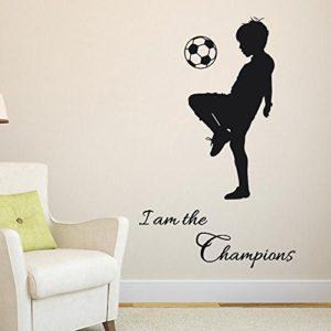 Wall Stickers Calcio Frasi I Am The Champions Bambini Diy Cameretta Salotto Camera Cucina Adesivi Murali Rimovibile Impermeabile Arte Carta Da Pareti Decorazione MuralesMambain