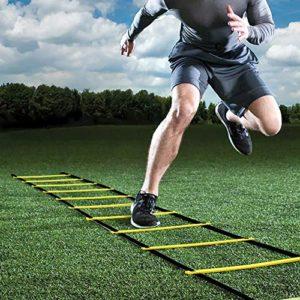 GHB 6M Scala Agilit Scaletta per Allenamento Calcio Esercizio velocit Fitness 12 Piolo con Custodia Portatile Regolabile  Giallo